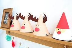 Reindeer and Santa party hats Christmas Party Themes, Felt Christmas Decorations, Christmas Paper Crafts, Xmas Party, Christmas Activities, Christmas Origami, Christmas Baby, Christmas Time, Christmas Cards