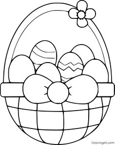 51 free printable Easter Basket coloring pages in vector format, easy to print from any device and automatically fit any paper size. Easter Coloring Pages Printable, Easter Bunny Colouring, Easter Egg Coloring Pages, Free Printable Coloring Sheets, Spring Coloring Pages, Easy Coloring Pages, Easter Basket Template, Easter Templates, Easter Coloring Pictures