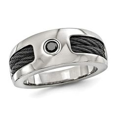 Zales Edward Mirell Mens 3.0mm Black Spinel Solitaire Cable Inlay Wedding Band in Titanium and Sterling Silver Y5xRw