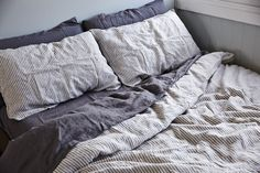 IN BED grey & white duvet and pillowslips with charcoal sheets & slips. Available at inbedstore.com