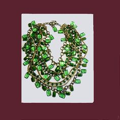 Let's Get Vintage - Necklaces - VINTAGE Gorgeous green glass multi strand necklace. UNSIGNED - Vintage Costume Jewelry