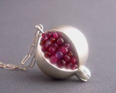 Pomegranate Pendant - Red Pink Gemstones Matte/Brushed Silverhttp://www.etsy.com/listing/86842779/pomegranate-pendant-red-pink-gemstones