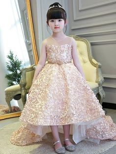 BaiXia Girls Flower Lace Trailing Party Dress Neckline Beads