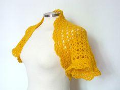 Crochet short sleeve bolero shrug mustard yellow lace by PennyKa, €38.00