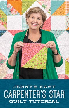 The Carpenter's Star has never been easier thanks to Jenny Doan's simplified version of this classic which uses half-squ Missouri Star Quilt Pattern, Missouri Quilt Tutorials, Star Quilt Patterns, Star Quilt Blocks, Star Quilts, Easy Quilts, Quilting Tutorials, Msqc Tutorials, Block Patterns