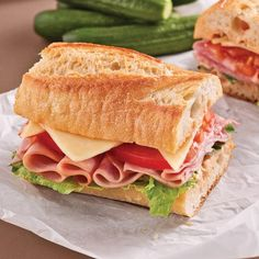 Family Ham och Gouda Baguette Bread - Weekly Suppers - Recept - Express Recept - Pratico P Sandwich Bar, Roast Beef Sandwich, Grilled Sandwich, Sandwich Recipes, Panini Sandwiches, Healthy Sandwiches, Sandwiches For Lunch, Delicious Sandwiches, Baguette Bread
