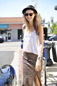 Behati Prinsloo- hat + animal print skirt with slit
