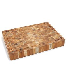Teakhaus by Proteak Butcher Block Rectangle End-Grain Cutting Board with Hand Grip and Juice Canal