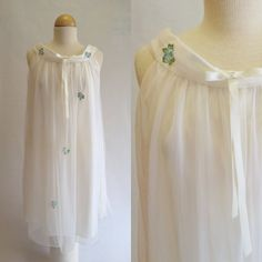 1960s Radcliffe Lingerie White Negligee Gown by OdettesVintage