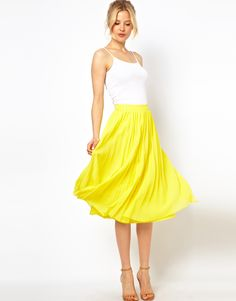 Midi Skirt with Pleats- canary yellow. Recommended to only be worn by girls with tanned skin and light hair, otherwise it may wash you out ☺