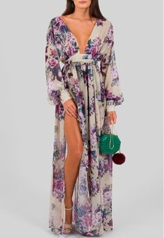 Vestido longo floral fluido com fendas frontais Powerlook - powerlook-V-MOB