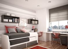 stripes, silver, white, wood floor, desk space, window, pillows, rug, bed, red chairs, boy's bedroom, clean feel, Photo courtesy of http://www.home-designing.com/