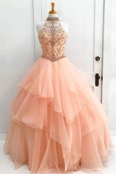 Ball Gown Prom Dress, Luxurious Ball Gown High Neck Orange Long Tulle Prom/Evening Dress with Beading Open Back Shop Short, long ball gowns, Prom ballroom dresses & ball skirts Pretty ball gowns, puffy formal ball dresses & gown Long Prom Dresses Uk, Orange Prom Dresses, Princess Prom Dresses, Ball Gowns Prom, Cheap Prom Dresses, Ball Dresses, Dress Long, Evening Dresses, Formal Dresses