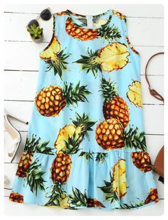 a0220374389 Pineapple Sleeveless Ruffle Hem Dress (Colormix) Beach Dresses