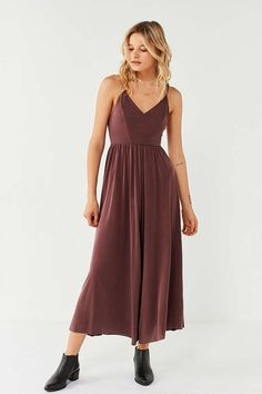 Slide View: 1: Silence + Noise Molly Cupro Culotte Jumpsuit