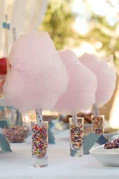 glasses with sprinkles and cotton candy