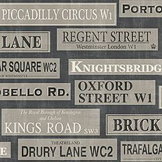 Brewster Home Fashions Kitchen & Bath Resource III Shreve London Landmarks x Embossed Wallpaper Wallpaper For Sale, Name Wallpaper, Gold Wallpaper, Embossed Wallpaper, Print Wallpaper, Funky Wallpaper, Oxford Street, London Street, London Sign