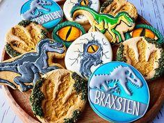 Jurassic World dinosaur cookie Birthday Party At Park, Baby Boy Birthday, Dinosaur Birthday Party, Birthday Fun, Birthday Party Themes, Jurassic Park Party, Dinosaur Cookies, Birthday Cookies, Cookie Decorating