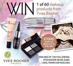 WIN!! 1 of 60 makeup products from Yves Rocher! £1000 worth of products to give away!!! Win either a mascara, eyeshadow quad, primer or kajal liner!