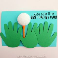 Best Dad By Par Handprint Card
