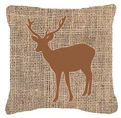Deer Burlap Indoor/Outdoor Throw Pillow