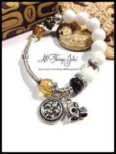 New Orleans Saints Bracelet Stretch Stackable by AllThingsJolie78