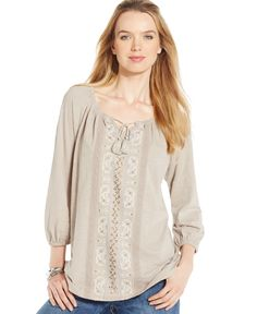 Style&co. Embroidered Split-Neck Peasant Top, Only at Macy's