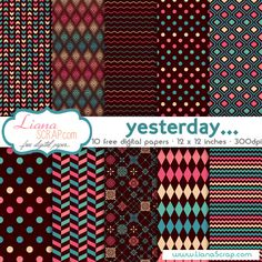 Free digital paper pack – Yesterday Set - http://www.lianascrap.com/free-digital-paper-pack-yesterday-set/