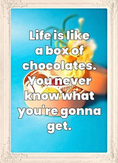 My mom always said life was like a box of chocolates. You never know what you're gonna get. Forrest Gump #quote bekitschig.blog Forrest Gump Quotes, Stay Happy, You Never Know, Cat Quotes, Chocolate Box, Life Is Like, My Mom, How To Stay Healthy, Chocolates