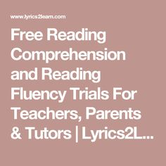 Free Reading Comprehension and Reading Fluency Trials For Teachers, Parents & Tutors Guided Reading, Free Reading, Reading Comprehension, Reading Stations, Reading Centers, Fluency Activities, Reading Activities, Reading Resources, Reading Strategies