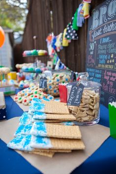 Primary color birthday, love it!! And love the snack table.