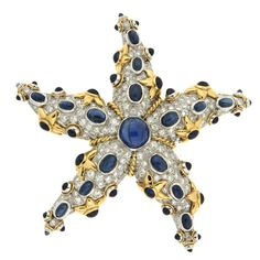Sapphire and Diamond Starfish Brooch | From a unique collection of vintage brooches at https://www.1stdibs.com/jewelry/brooches/brooches/