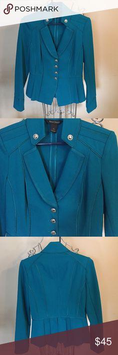 NWOT White House Black Market jacket 2 NWOT White House Black Market military style jacket. Very pretty structured jacket with silver buttons. Satin edging//69% Rayon//28% nylon//4%Spandex! Green/blue White House Black Market Jackets & Coats Blazers