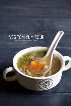 vegetarian tom yum soup recipe with step by step photos - this delicious tom yum soup is a spicy and sour soup recipe from the thai cuisine. i am sharing a vegetarian version of this Chicken Soup Recipes, Veg Recipes, Indian Food Recipes, Pasta Recipes, Vegetarian Recipes, Cooking Recipes, Tom Yum Soup Vegetarian Recipe, Healthy Recipes, Thai Soup Vegetarian