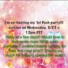Best in jewelry & accessories! This Wednesday! I'll be co-hosting my first posh party on March 23rd at 12-2pm PST (3-5pm EST).  Help me in my search for host picks!!  Looking for posh compliant closets, new closets, & closets looking for their 1st host pick!  Theme Announced: BEST IN JEWELRY & ACCESSORIES!!  thanks so much everyone for all the kind wishes & for spreading the word!!! ♥️ Other