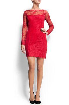 Mango red lace dress