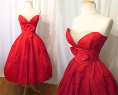 "Killer 1950's Red Ribbed Satin Strapless Party Cocktail Prom Dress by ""Lorrie Deb San Fran"" Rockabilly VKV Pinup Vixen Shelf Bust Size-Small..."