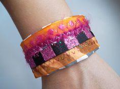 Upcycled Fabric Bracelet Pink and Orange by ransomletterhandmade, $7.00