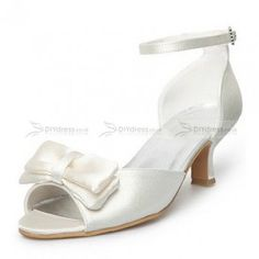 02b28ff5bf63 Peep Toe Pumps Kitten Heel Ivory Satin Buckle Bridal Shoes