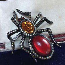 VINTAGE JEWELLERY SIGNED BUTLER & WILSON CRYSTAL SPIDER BROOCH/PIN
