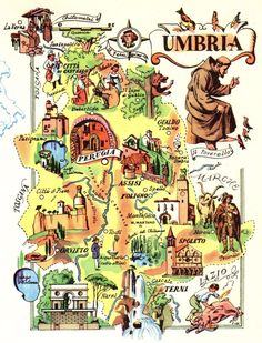 Vintage UMBRIA ITALY Map Picture Map of Italy Artistic Pictorial Map Fra 3821