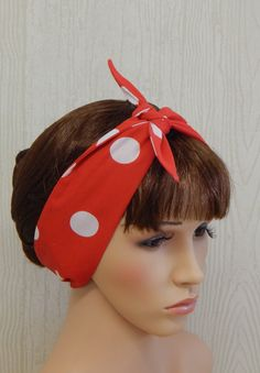 Pin Up Headband Cotton Hairband Red and White by verycuteheadbands