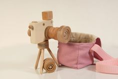 Wooden Toy Camera Set  Camera detachable flash by beigebois
