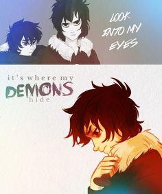 Nico di Angelo  (demons, imagine dragons) Feel sooooo sorry for Nico...my fav character....so broken....eyes like shattered glass...