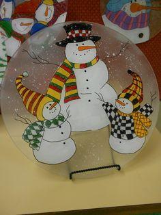 Cute snowmen reverse glass painting
