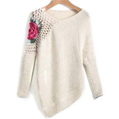 Apricot Round Neck Floral Crochet Loose Sweater Embroidery Asymmetrical Pullovers