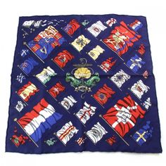 This is an authentic HERMES Silk Twill Pavois Flags Pocket Square Scarf.   The exquisite detail and exceptional quality of this Hermes scarf make it a fabulous fashion accessory.
