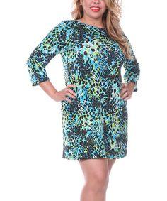 Look what I found on #zulily! Green & Black Shift Dress - Plus #zulilyfinds
