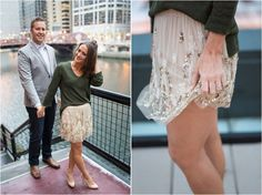 Chicago engagement photos - love her outfit!