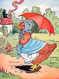 Little red hen and her umbrella - vintage childrens book illustration